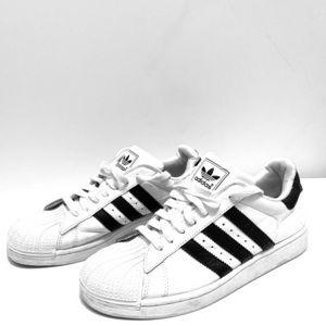 Adidas Men's White Shell Toed w/Navy Blue Stripes